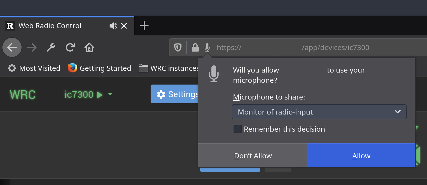 Selecting the microphone or audio input in Firefox