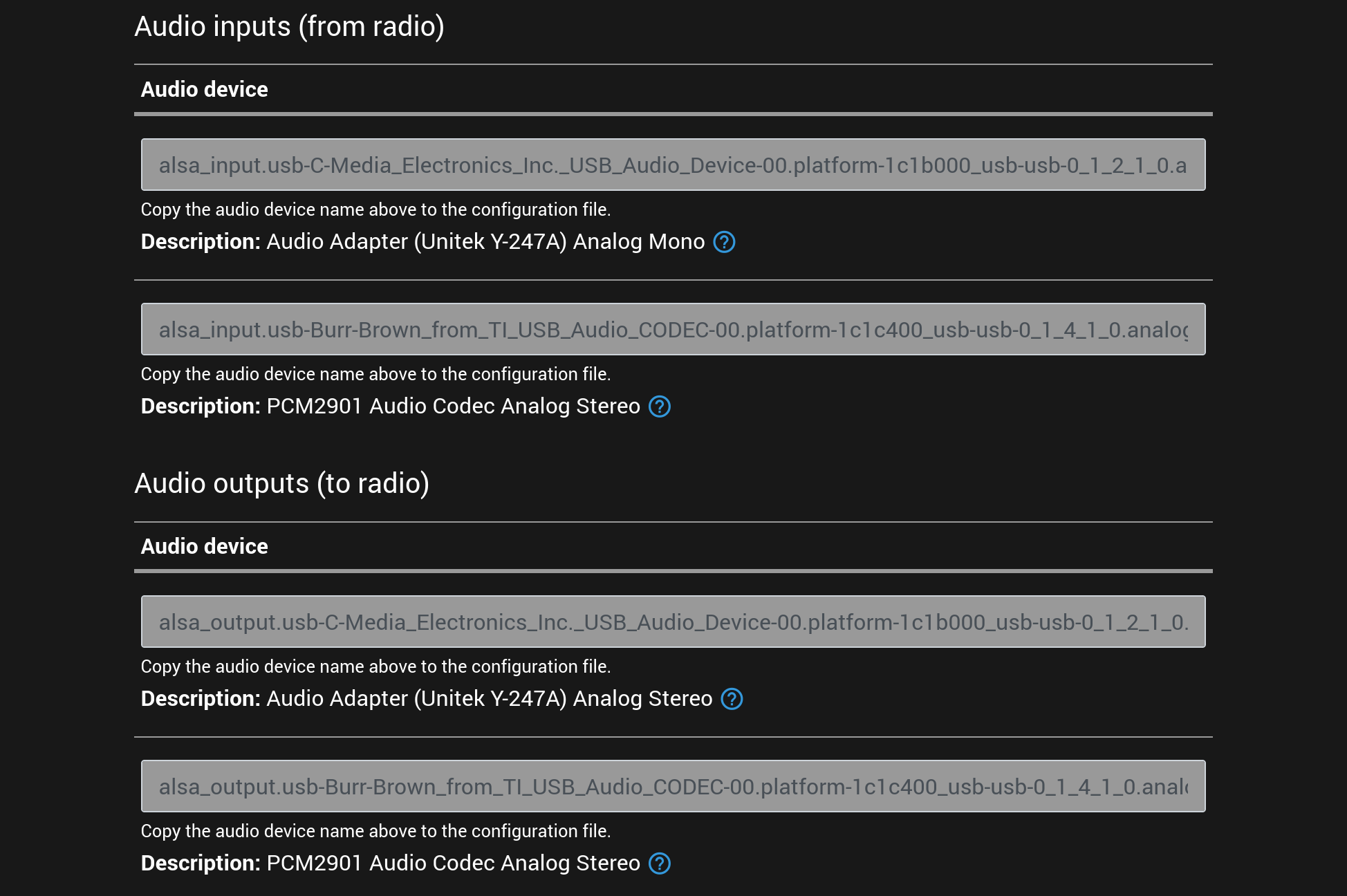 An example screenshot of the list of supported audio input and output devices displayed in the setup user interface