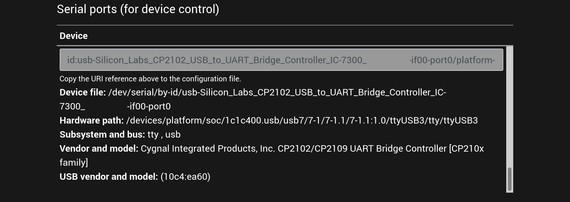 An example screenshot of the list of supported serial ports displayed in the setup user interface