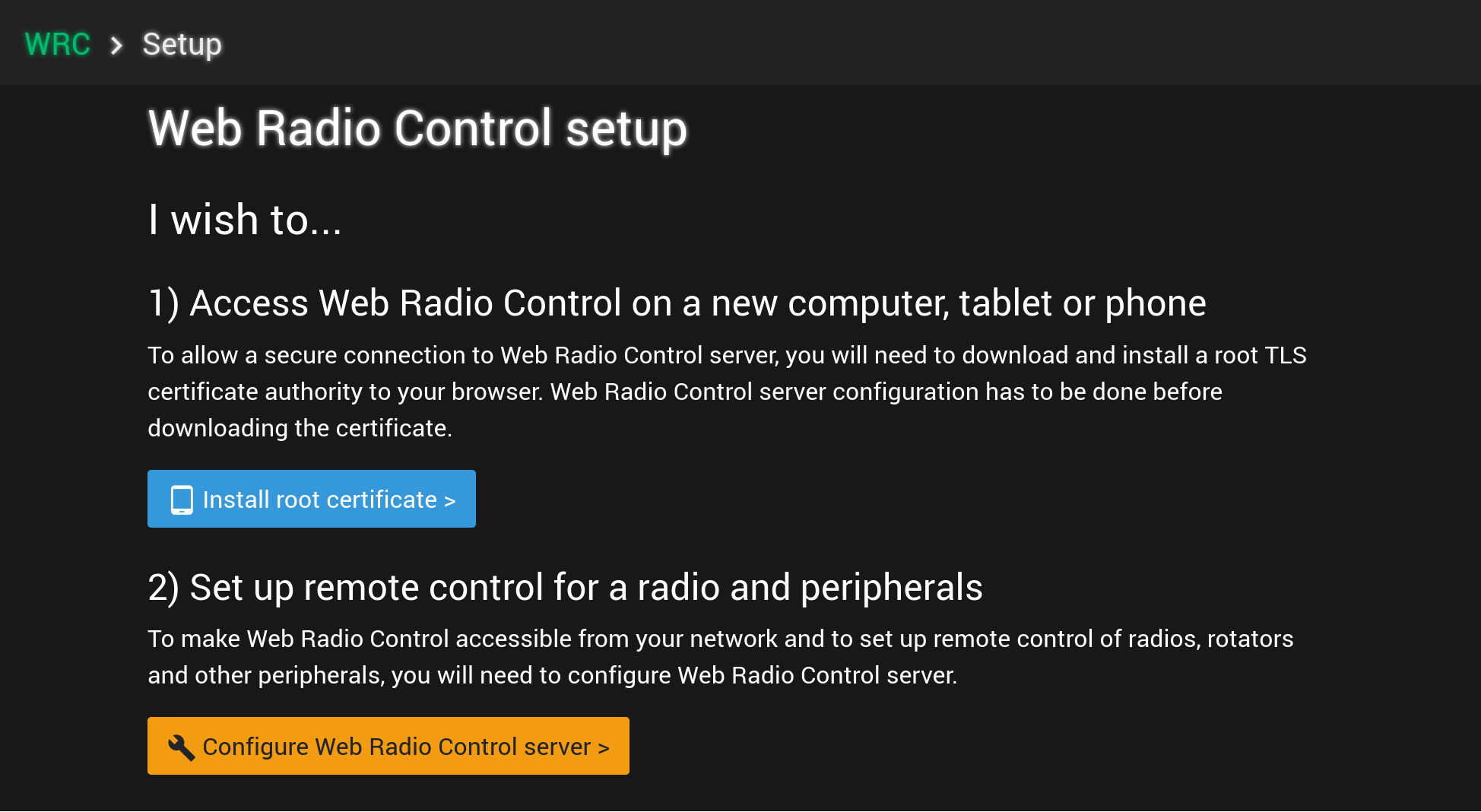 The main screen of Web Radio Control setup user interface