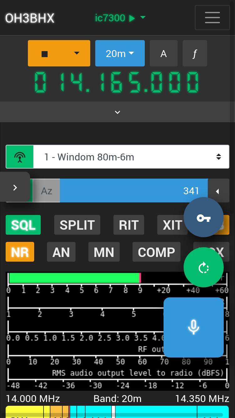 Radio control view on a phone screen